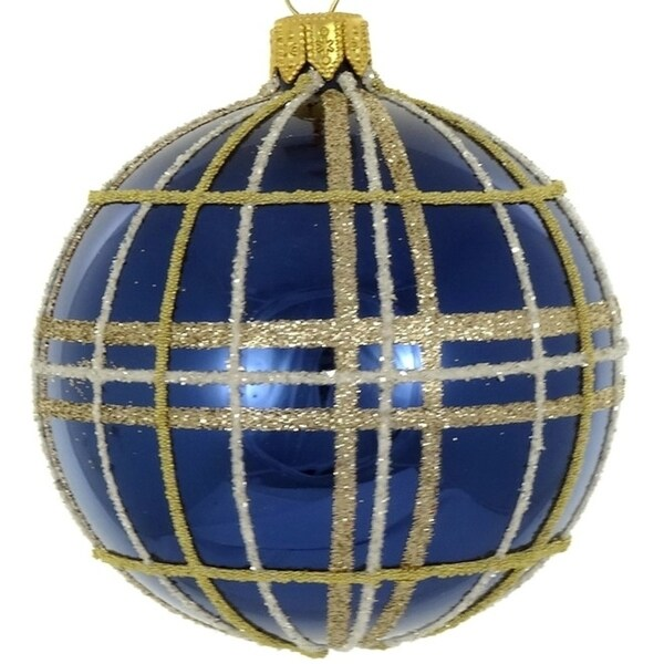 4 Pc Set Navy Gold Plaid 4 Ornament