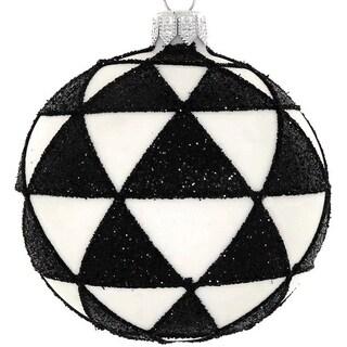 """4  Pc Set  Black/White 4"""" ornaments"""
