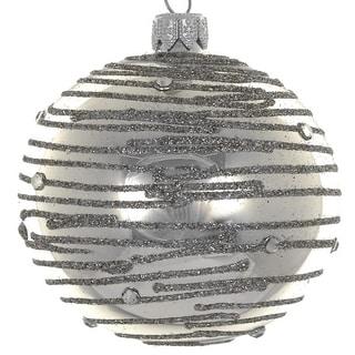 """4  Pc Set  Silver Swirl 4"""" ornaments"""