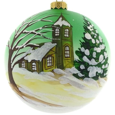 "Handpainted Cabin 6"" ornament"