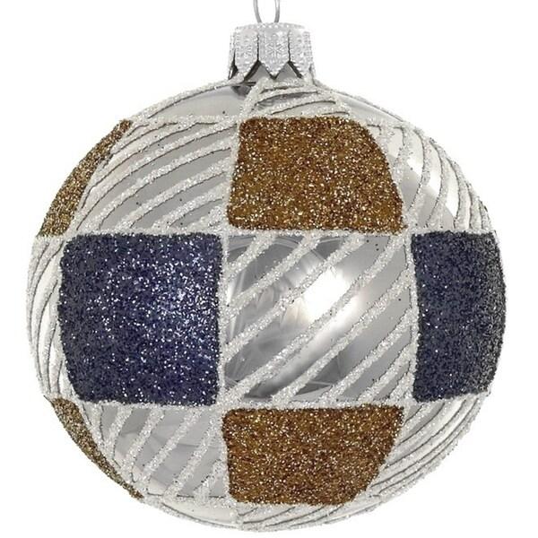 """4 Pc Set Brown/Blue 4"""" ornament"""