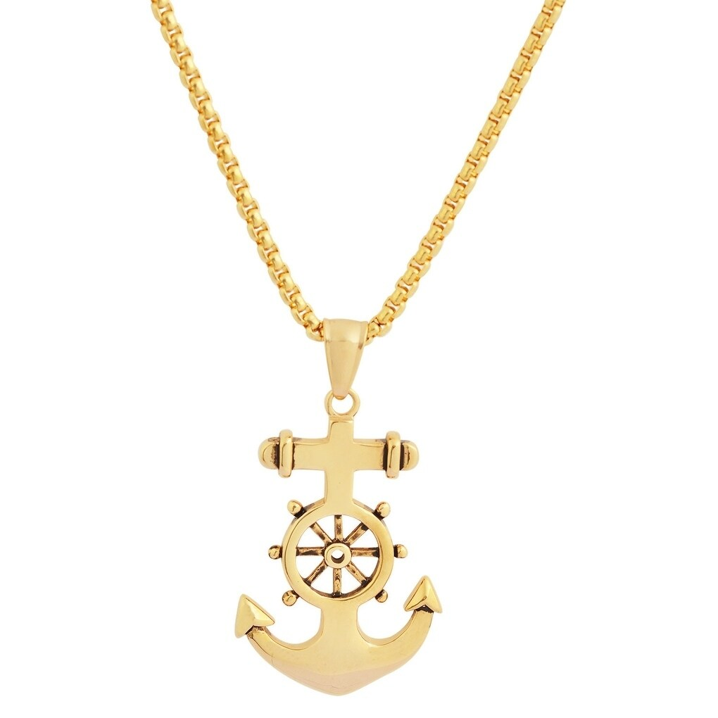 Shop Men S 18k Gold Plated Stainless Steel Hypoallergenic Box Chain Necklace With Anchor Pendant 24 Overstock 25634020