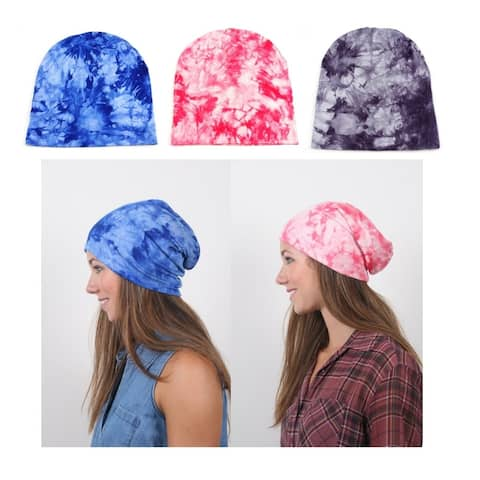 Bright Tie Dye Slouch Jersey Beanie Set in Assorted Colors (3 - Pack) Size - Adult L (7 1/4 - 7 3/8)