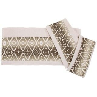HiEnd Accents Chalet Aztec Applique 3 Piece Bath Towel Set, Cream
