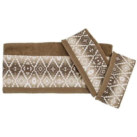 HiEnd Accents Chalet Aztec Applique 3 Piece Bath Towel Set, Mocha