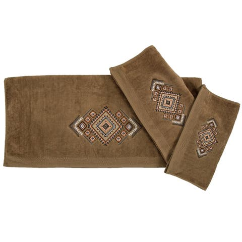 HiEnd Accents Sedona Aztec Embroidered 3 Piece Bath Towel Set, Mocha