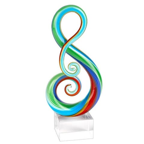 "Rainbow Murano Style Art Glass Note Centerpiece on Crystal Base 11"" - Multi"