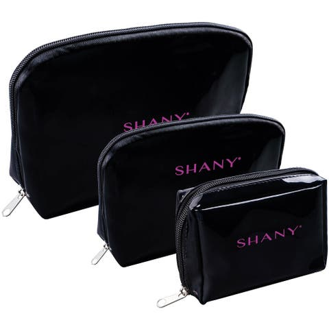SHANY Black Faux Patent Leather Cosmetic Clutch Set with Nylon Interior - 3 PC