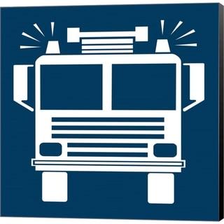 Color Me Happy 'Front View Trucks Set I - Blue' Canvas Art