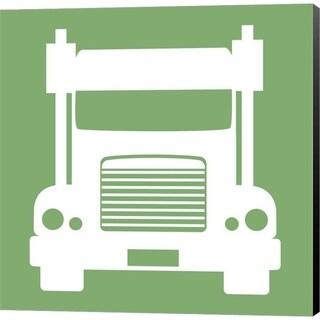 Color Me Happy 'Front View Trucks Set II - Green' Canvas Art