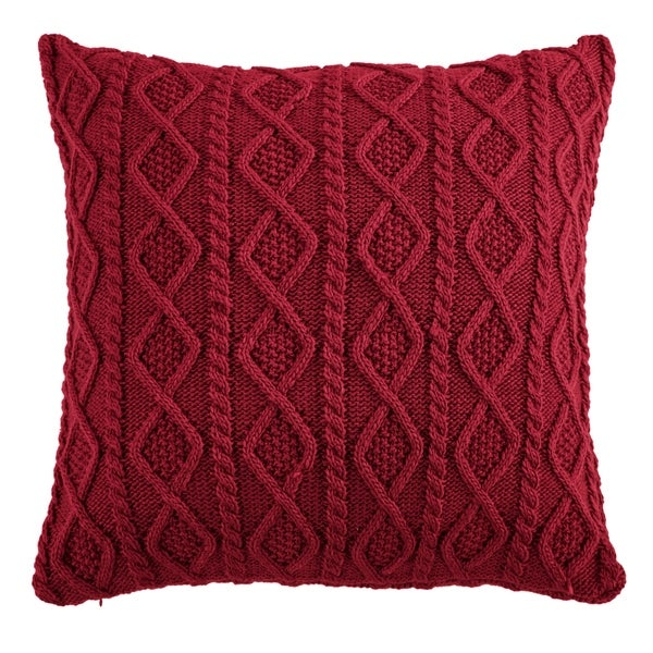 HiEnd Accents Cable Knit Euro Sham, 26x26 Red (As Is Item)