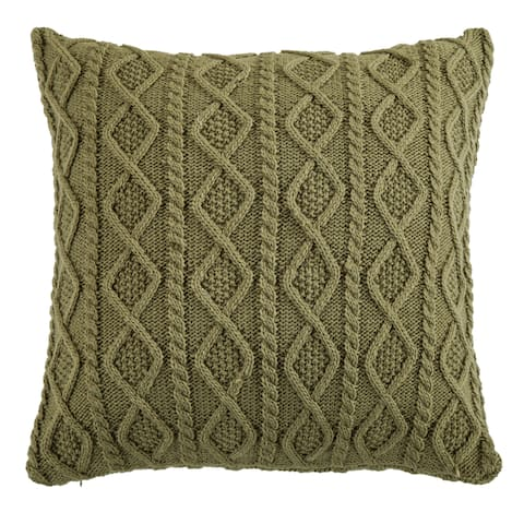 HiEnd Accents Cable Knit Euro Sham, 26x26 Green