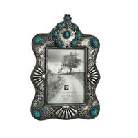 "HiEnd Accents Faux Silver and Turquoise Western 5""x7"" Frame"