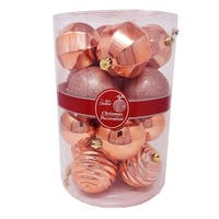 Christmas Festive Holiday Season Ball Ornaments Set-16pcs Rose Gold