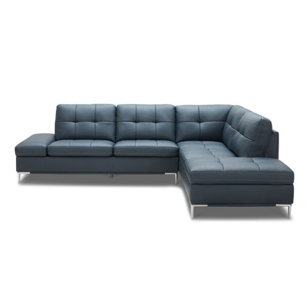 Shop Divani Casa Lariat Modern Blue Eco Leather Sectional