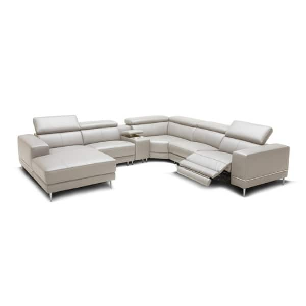 Wade Light Grey Leather Sectional Sofa