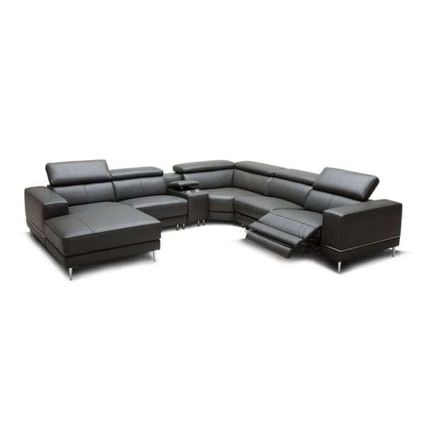 Shop Divani Casa Wade Modern Dark Grey Leather Sectional Sofa with 2 ...