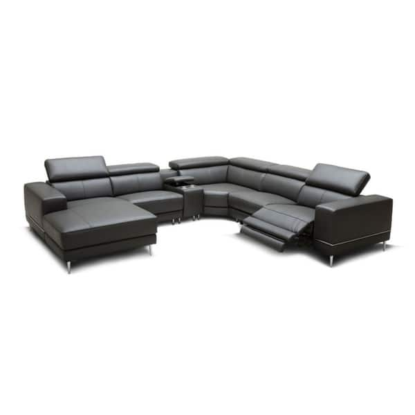 Divani Casa Wade Modern Dark Grey Leather Sectional Sofa with 2 Electric  Recliners and Console