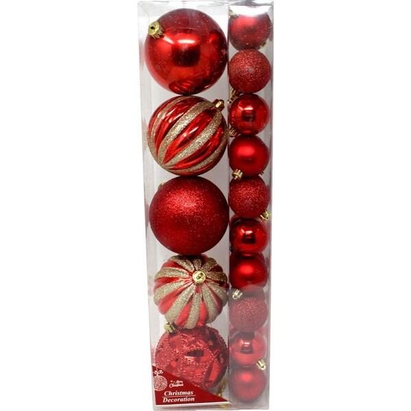 Christmas Festive Holiday Season Ball Ornaments Colors Red 25pk