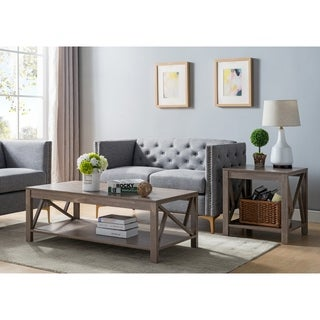 Furniture of America Stamos Rustic 2-piece Hazelnut Accent Table Set