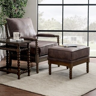 Furniture of America Bannister Rustic Boho Faux Leather 2-Piece Chair and Ottoman Set