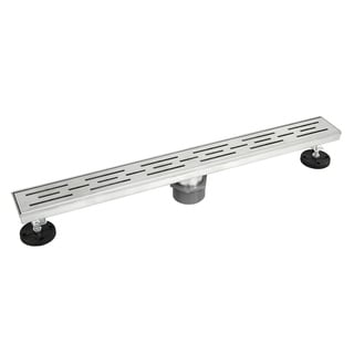 Shower Linear Drain 48 inch- Stripe Pattern Grate- Brushed 304 Stainless Steel- Threaded Adaptor Included - Solid Color