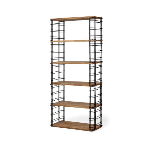 Mercana Bradie Brown Metal and Wood Shelving Unit