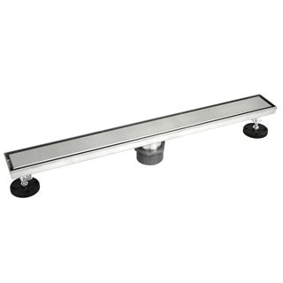 Shower Linear Drain 48 inch- 2 sided Reversible Tile Insert Grate-Brushed 304 Stainless Steel-Threaded Adaptor Included