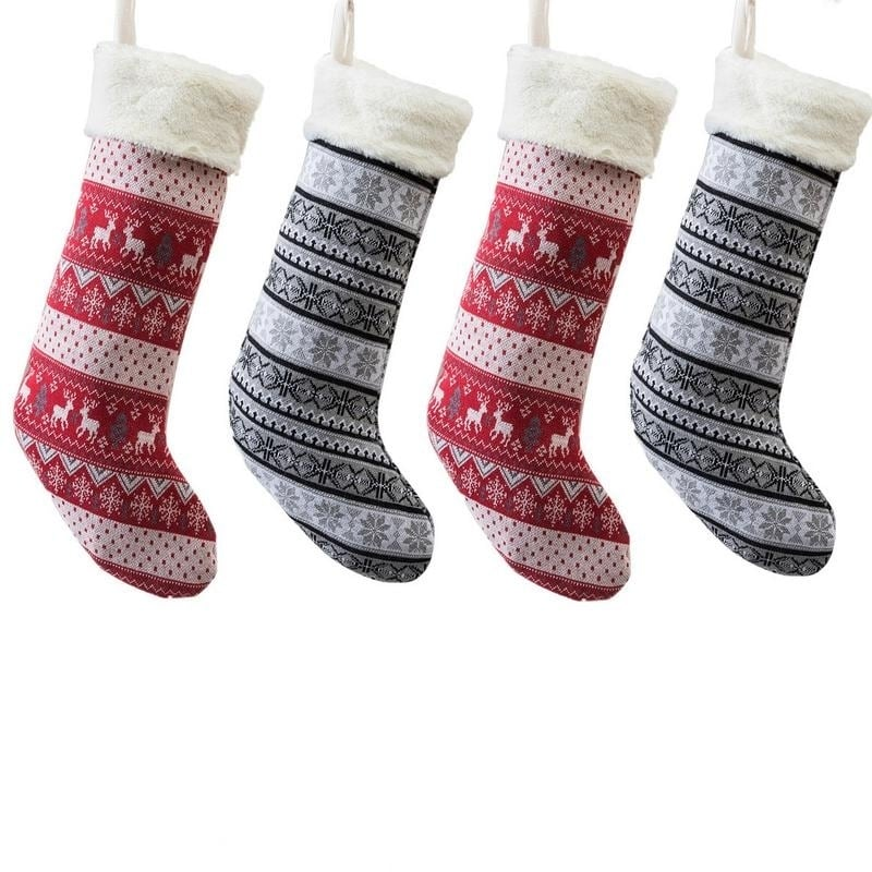 Knitted Christmas Stockings.Farmhouse Knitted Christmas Stockings Set Of 4 21 7