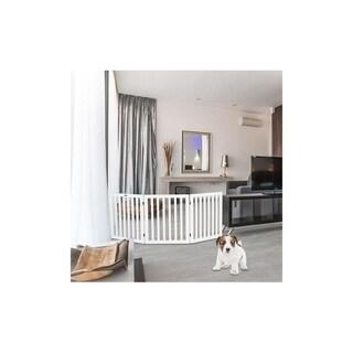 "30"" Free Standing Three Panels 360-degree Configurable Wood Pet Dog Gate White/Brown"