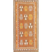 "Gracewood Hollow Nye Woven Blend Shiraz Woven Geometric Kilim Shiraz Persian Rug - 8'10"" x 4'4"" runner"