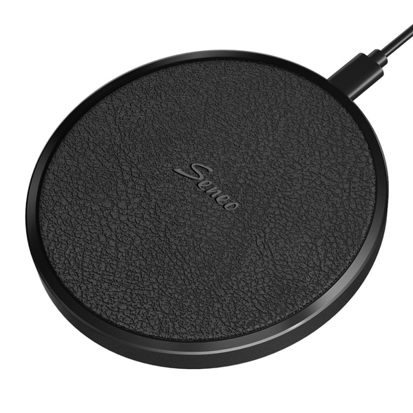 Seneo Wireless Charger Qi CertifiedWireless Charging Pad Aluminum Alloy Leather Charging Pad. Opens flyout.