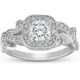 Bliss 14k White Gold 1 Ct TDW Diamond Cushion Halo Vintage Vine Petal Engagement Ring