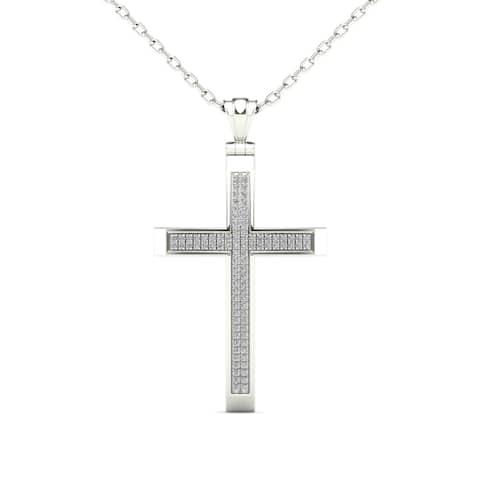 AALILLY Mens 14k White Gold 1/4ct TDW Diamond Double Row Cross Pendant Necklace (H-I, I1-I2)
