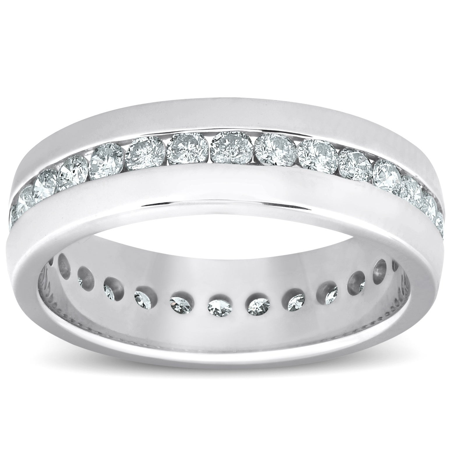 This is a picture of Pompeii34 34k White Gold 34 34/34 ct TDW Mens Diamond Eternity Channel Set Wedding Band High Polished Ring