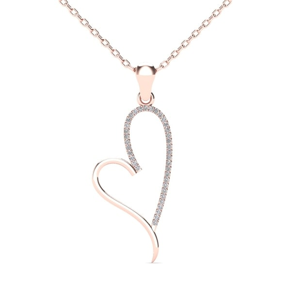 AALILLY 10k Rose Gold 1/10ct TDW Diamond Tilted Heart Pendant Necklace (H-I, I1-I2)