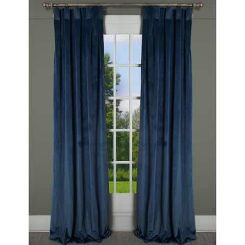 "RT Dressings Milan Lapis Blue Velvet Box Pleat Single Curtain Panel - 24"" wide x 115"" length"
