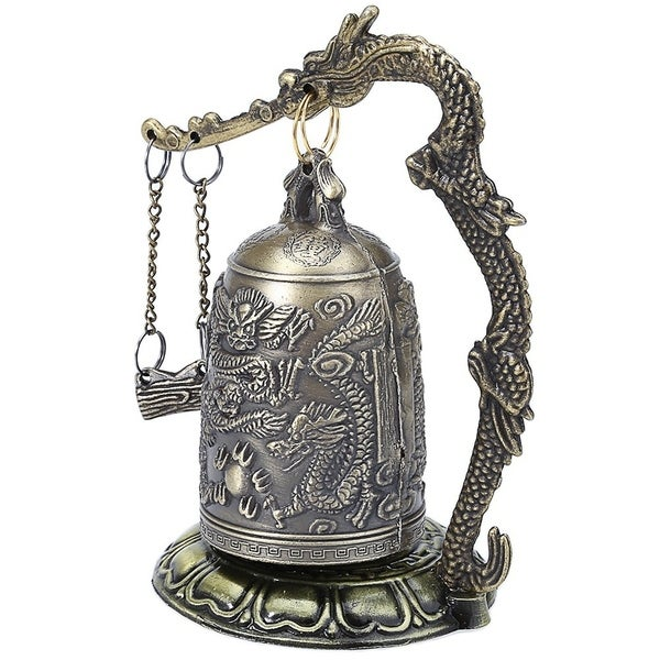 Shop Zinc Alloy Vintage Style Bronze Lock Dragon Carved Buddhist Bell Chinese Geomantic Artware Exquisite Home Decor