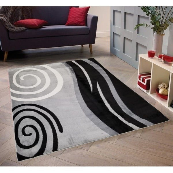 Shop Abstract Black Grey Swirl Area Rug 5 X 8 Surplus