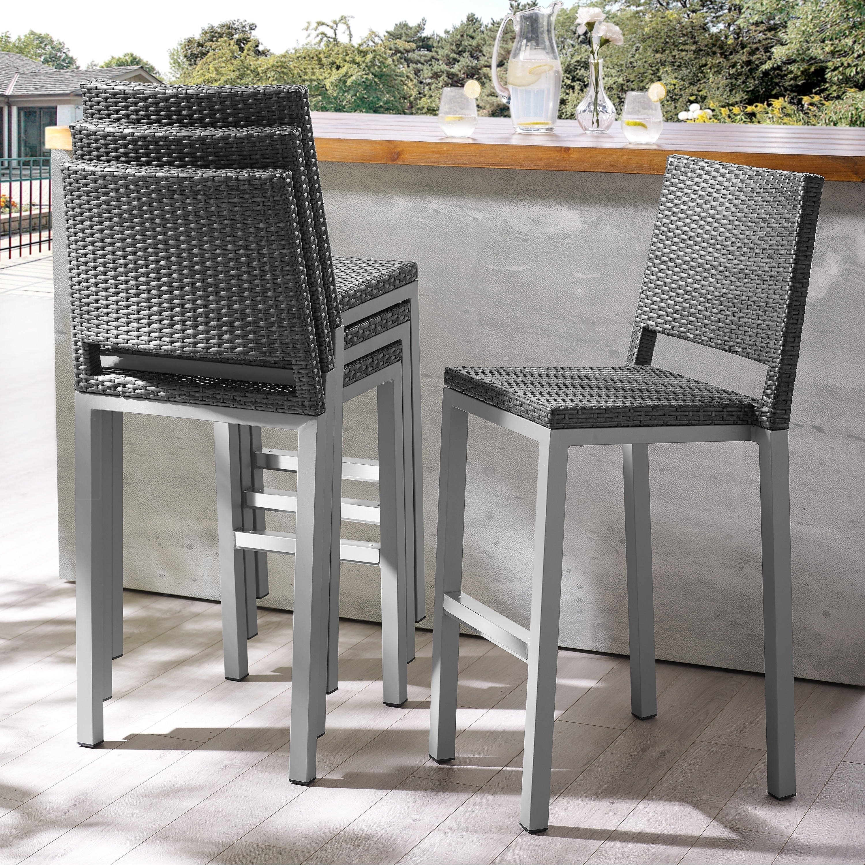 Havenside Home Plymouth Patio Aluminum 30 Inch Outdoor Wicker Bar Stools Set Of 4