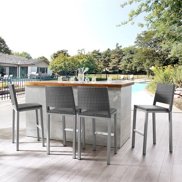 Patio Bar Chairs Sale: Shop Hedi Patio Aluminum 30-inch Outdoor Wicker Bar Stools