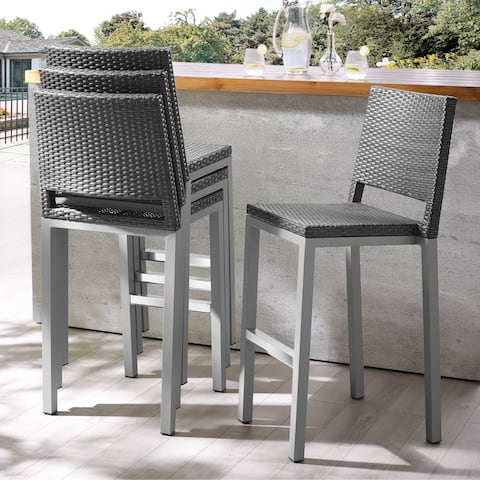 Havenside Home Plymouth Patio Aluminum 30-inch Outdoor Wicker Bar Stools (Set of 4)
