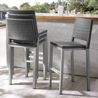 Hedi Patio Aluminum 30-inch Outdoor Wicker Bar Stools by Corvus (Set of 4)