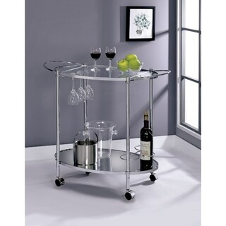 Oval Shaped Two Glass Shelves Metal Serving Cart with Casters, Silver