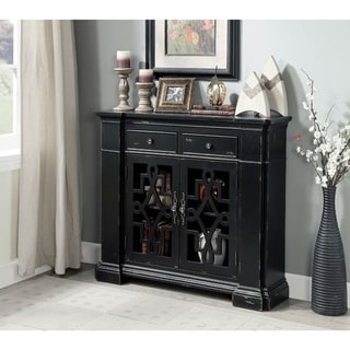 Solid Wood  Cabinet with Glassless Decorative Panels, Weathered Black