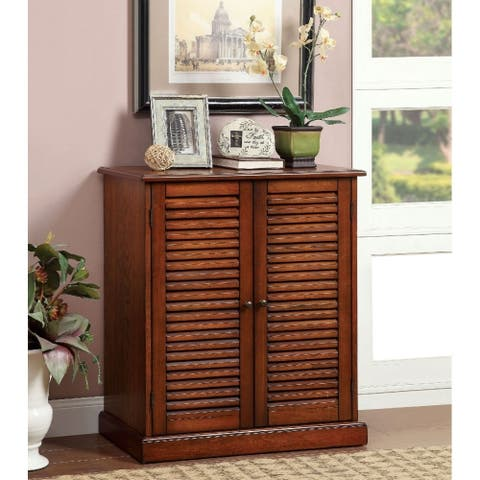 Double Door Solid Wood Shoe Cabinet with Blocked Panel Feet, Brown