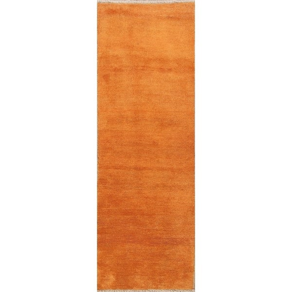 """Hand Knotted Wool Classical Shiraz Gabbeh Persian Traditional Rug - 8'2"""" x 2'8"""" runner"""