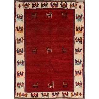 "Classical Shiraz Hand Knotted Gabbeh Persian Traditional Area Rug Wool - 4'10"" x 3'6"""