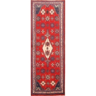 "Hamedan Hand Made Persian Vintage Rug Wool - 10'4"" x 3'8"" runner"