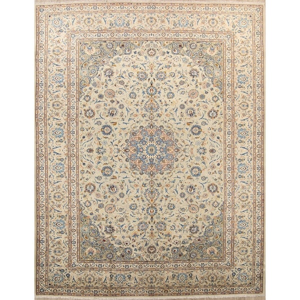"Wool Kashan Hand Knotted Vintage Persian Traditional Area Rug Wool - 13'9"" x 10'3"""